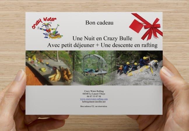 Cartes cadeaux Rafting & Hébergement Barcelonnette
